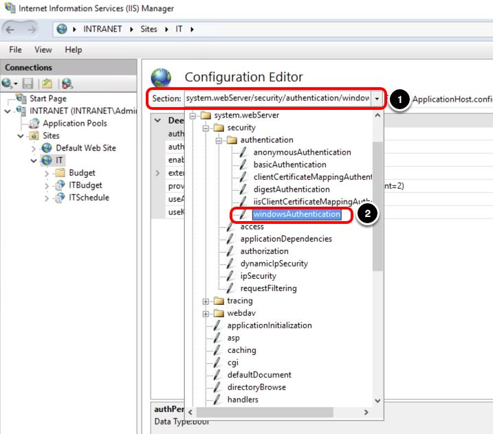 Select Authentication Configuration