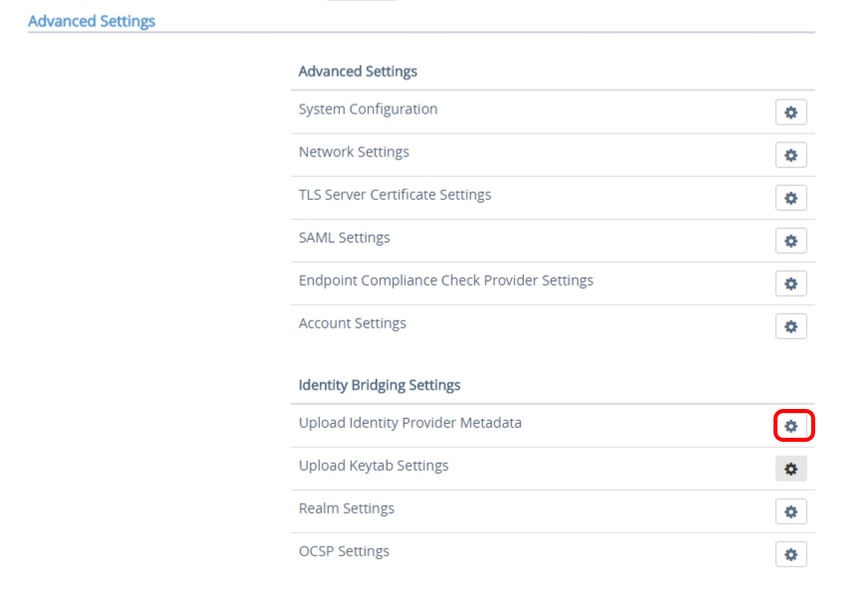 Advanced Settings IdP Metadata