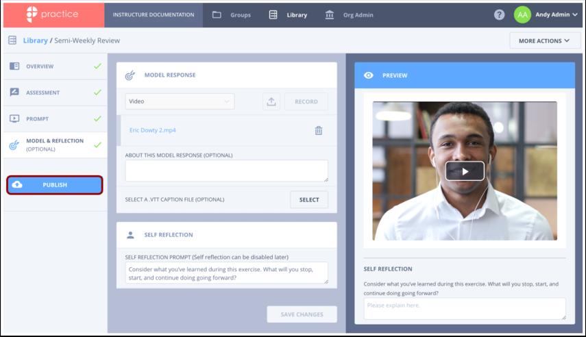 Click Publish Exercise button