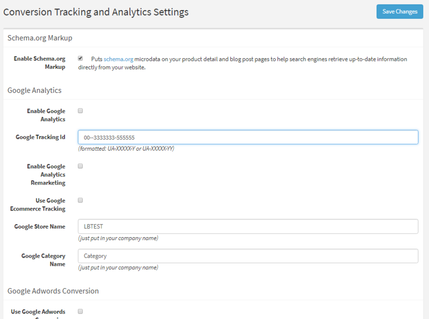 Conversion Tracking and Analytics Settings