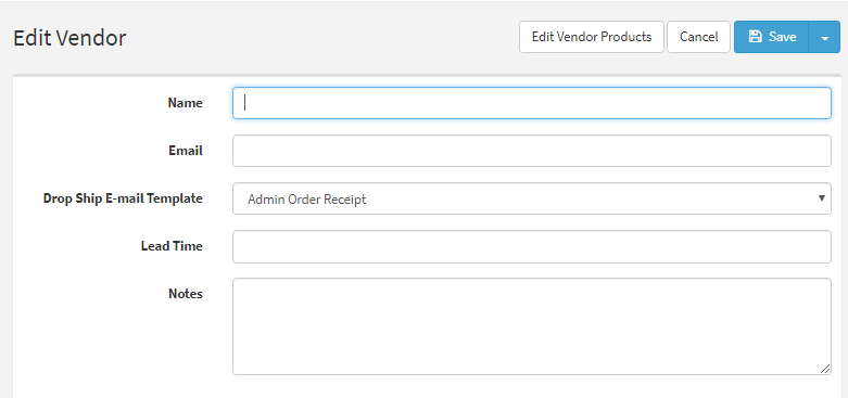 Create New Vendor