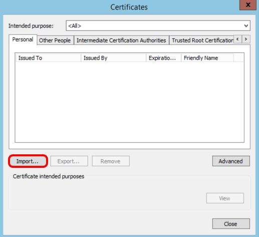 Start Import of certificate