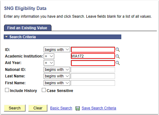 SNG Eligibility Data Search Page