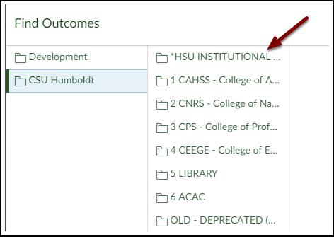 Canvas Find Outcomes Menu - HSU INSTITUTIONAL OUTCOMES folder