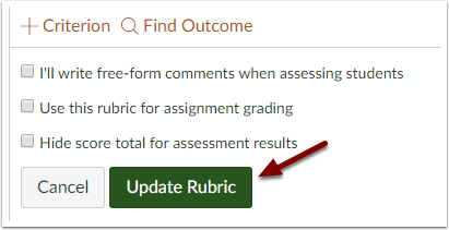 Canvas rubric editor showing update rubric button