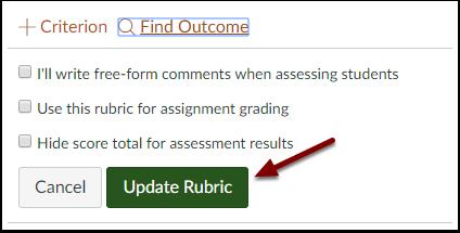 Canvas Rubric Editor - Update Rubric button