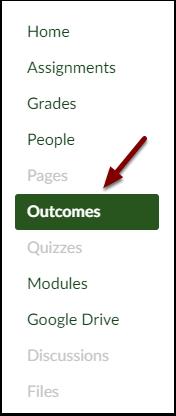 Canvas Course Navigation Outcomes button