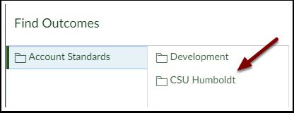 Canvas Find Outcomes Menu - CSU Humboldt folder