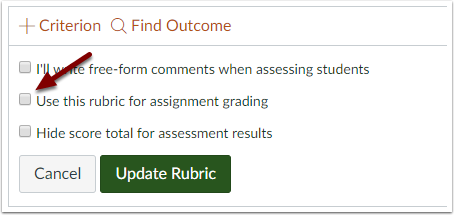 "Canvas Rubric Editor - ""Use this rubric for assignment grading"" checkbox"