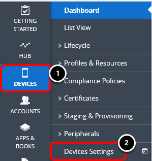 Device settings in Workspace ONE UEM admin console