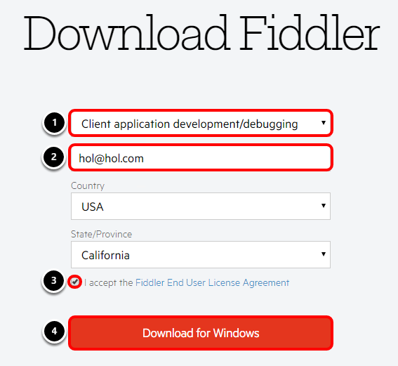 Fields to complete Fiddler download.