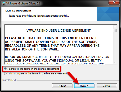 """Select """"I agree to the terms in the license agreement""""."""
