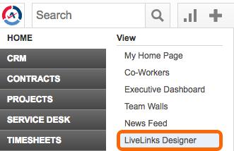 Autotask: Home >  LiveLinks Designer