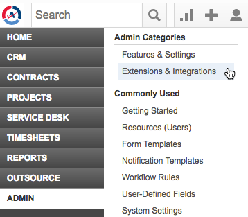Autotask: Admin > Extensions & Integrations