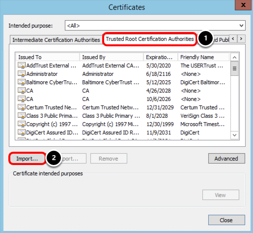 Import Trusted Root