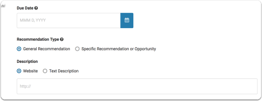 Enter information that will be provided to your recommender when viewing and submitting your request