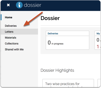 "Click ""Manage Dossier"""