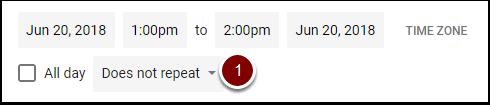Google Calendar Repeat Event dropdown