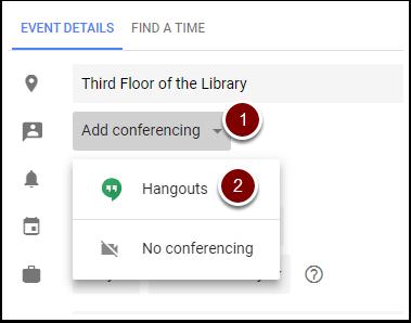 Google Calendar Event Add Conferencing dropdown