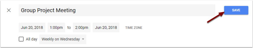 Google Calendar Event - Save button
