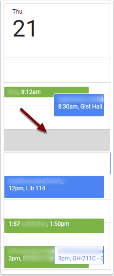 Google Calendar Event - Find a Time - drag and drop card