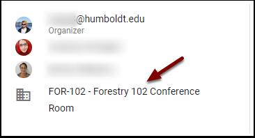 Google Calendar Event - HSU Room added as guest