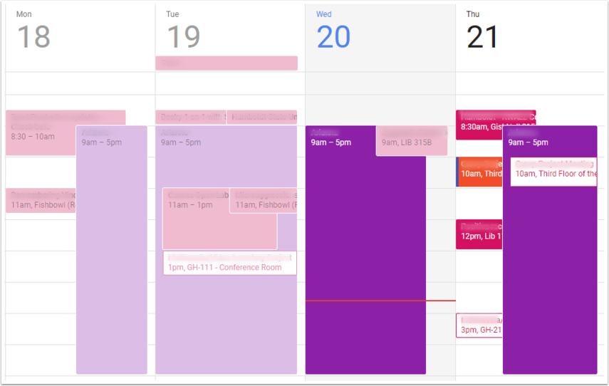 Google Calendar Main Screen