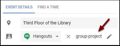 Google Calendar Event Conferencing Hangout name