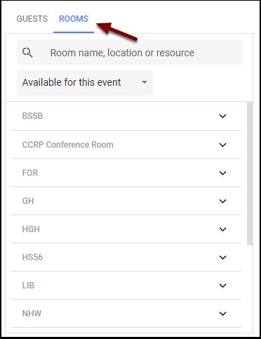 Google Calendar Event - HSU Rooms