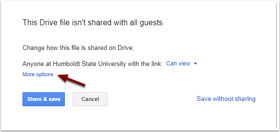 Google Calendar Event - Share Drive file prompt