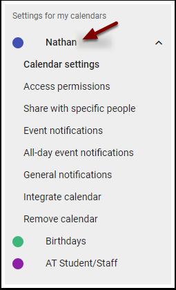 Google Calendar - individual calendar settings