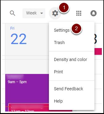 Google Calendar Settings gear
