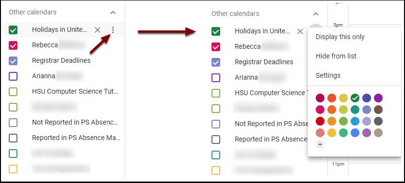 Google Calendar - individual calendar settings menu