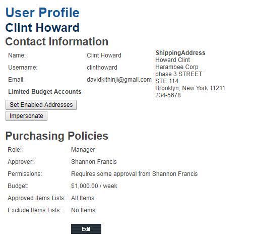 Edit User Profile & Policies