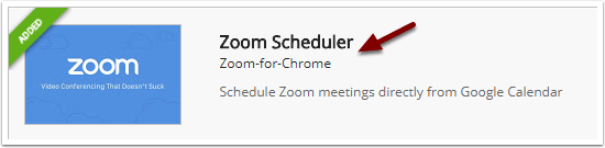 Zoom Scheduler search results