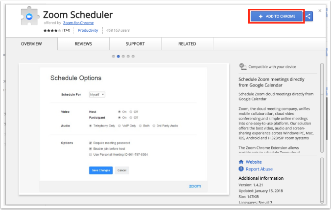 Zoom Scheduler - Add to Chrome button