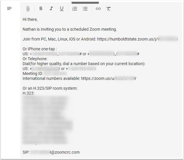 Google Calendar Event - description set to Zoom meeting standard invitation