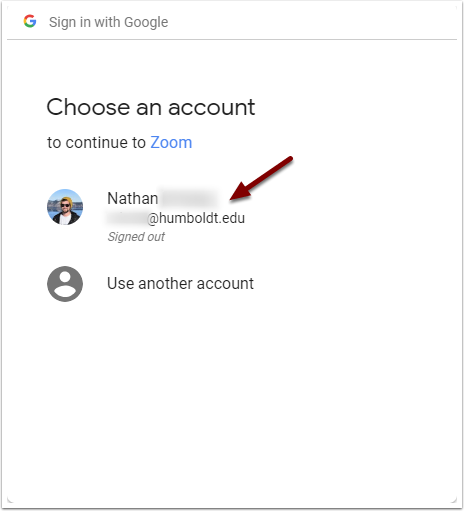 Google Sign in - Choose an account