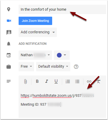 Google Calendar Event - Modified location and description