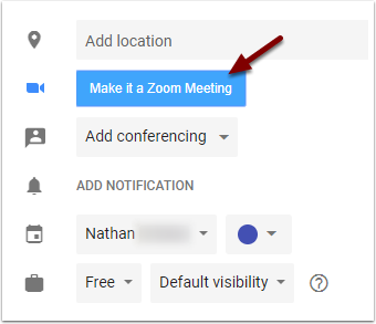 Google Calendar - Make it a Zoom Meeting button