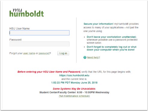 myHumboldt login screen