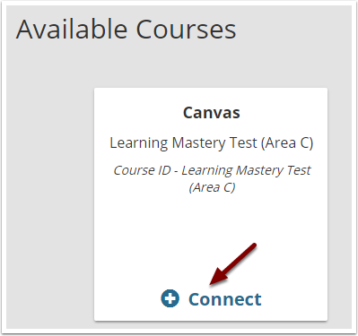 TurningPoint web console - Available Courses list showing connect button