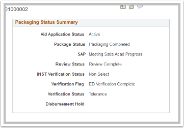 Financial Aid Status Page  Packaging Status Summary