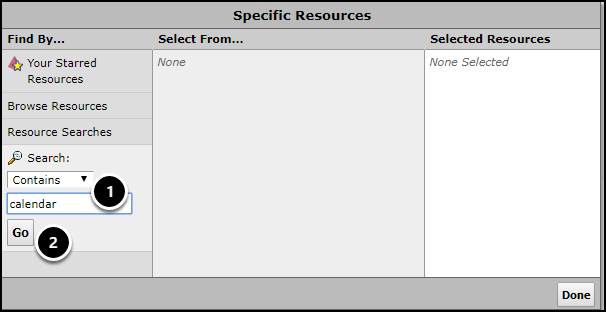 specific resources screen