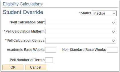 Eligibility Calculation Override page