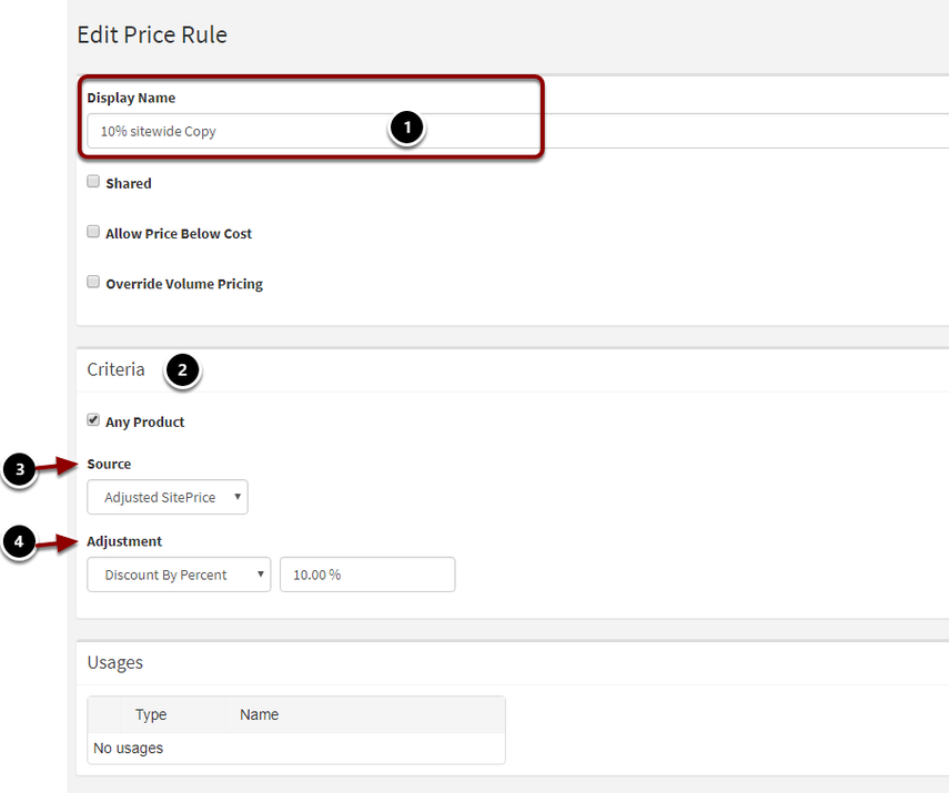 Criteria Price Rule