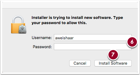software installation authentication window, highlighting the username and password fields and Install Software button