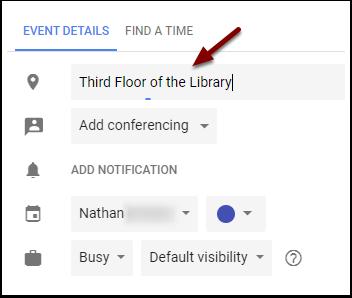 Google Calendar Event Location field