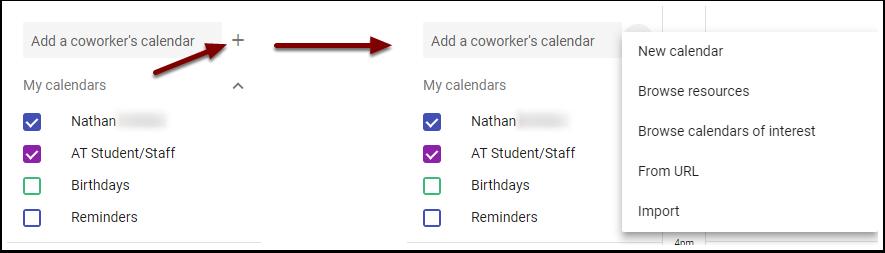 Google Calendar - add other calendar