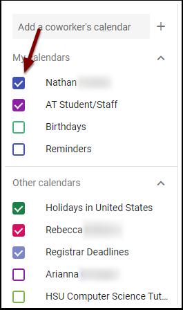 Google Calendar - Calendar checkboxes